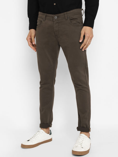 Brown Mid Rise Coloured Jeans