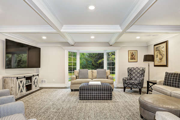 RELAXED FAMILY ROOM WITH COFFERED CEILING
