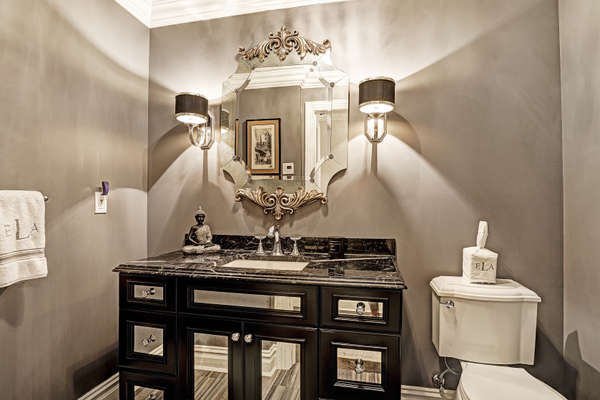 POWDER ROOM WITH SWAROWSKI CRYSTAL FAUCETS