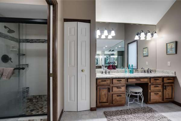 Double Sink Vanity and Separate Shower