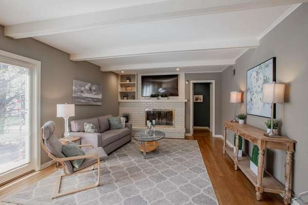 Family Room with Wood Burning Fireplace