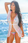 Vodka Tonic White Geo Mesh Drawstring Bikini Cover Up image