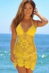 Freesia Yellow Center Sun Scalloped Crochet Beach Cover Up image