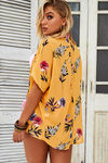 Napa Sun Mustard Chiffon Floral Kimono Beach Cover Up image
