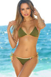 Olive & Gold Fixed Triangle Bikini Top image