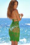 Freesia Kelly Green Center Sun Scalloped Crochet Beach Cover Up image