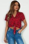 """""""Tous Les Secrets"""" Red Leopard Print Blouse image"""