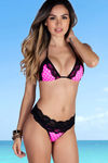 Maui Pink Polka Dots & Black Lace Band Scrunch Bottoms  image