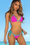 Pink Polka Dot & Aqua Triangle Bikini Top image