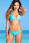 Sexy Aqua Banded Brazilian Thong Bikini Bottoms image