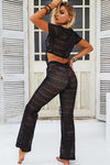 Bora Bora Black Crochet Front Tie Crop Top & Pant Set image