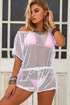 Vermouth White Fishnet Romper Beach Cover Up image