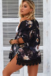 Savoy Affair Black Peony Floral Chiffon Kimono Beach Cover Up image