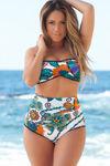 Beverly Hills Teal Paisley Print Ruffle Trim Bandeau Bikini Top image
