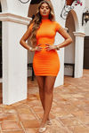 """Late to the Party"" Neon Orange Short-Sleeve Mini Dress image"