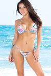 Santorini Blue Hawaii Print Thong Bikini Bottom image