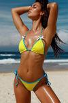 Neon Yellow & Aqua Polka Dot Classic Bikini Top image