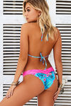 Aqua Tropical & Pink Edge Lace Triangle Top image