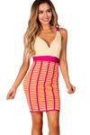 """Becca"" Fuchsia and Citrus Chiffon Top Bandage Cocktail Dress image"