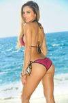 Vegas Fuchsia & Black Fixed Triangle Sequin Bikini Top image