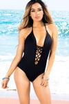 Azalea Black Plunging Lace Up Halter One Piece Swimsuit image