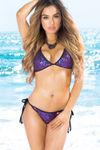 Vegas Black & Sapphire Sequins Fixed Triangle Bikini Top image