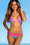 Laguna Aqua Tropical & Pink Single Edge Lace Bikini Top image
