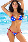 Lima Red, White & Blue Star Print Triangle Bikini Top image