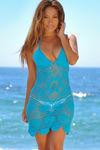 Freesia Turquoise Center Sun Scalloped Crochet Beach Cover Up image