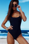 Marilyn Black Back Lace Up One Piece Swimsuit image