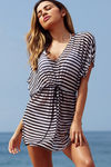 Afterparty Black Stripes Mesh Hooded Cinch Waist Beach Cover Up image