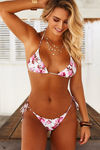 Ivory Pink Floral Triangle Top image