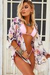 Savoy Affair Beige Peony Floral Chiffon Kimono Beach Cover Up image