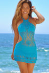 Buttercup Turquoise Backless High Neck Halter Dress Crochet Cover Up image