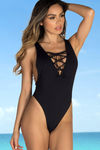 Snapdragon Black Sexy High Cut Deep V Lace Up One Piece Swimsuit image