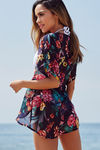 French Connection Navy Blue Floral Chiffon Kimono Cover Up image