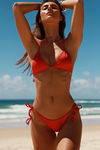 Laguna Solid Red Single Rise Scrunch Bikini Bottom image