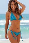 Daisy Turquoise Ruffled Crochet Triangle Bikini Top image