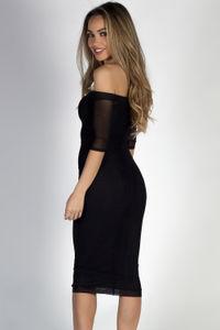"""Dangerous Love"" Black Off Shoulder Mesh Sleeve Midi Dress image"