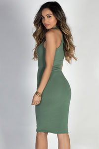 """Wild Thoughts"" Sage High Neck Halter Lace Up Bodycon Dress image"