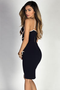 """Mila"" Navy & Nude Bodycon Bustier Cocktail Dress image"