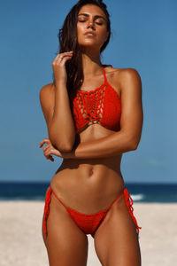 Amaryllis Red Crochet Micro Rise Bikini Bottom image