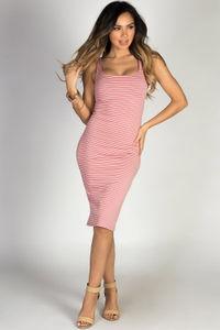 """Boardwalk Babe"" Rose & White Striped Scoop Neck Bodycon Tank Midi Dress image"
