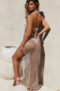 Sea Breeze Metallic Gold Crochet Fishnet Beach Skirt image