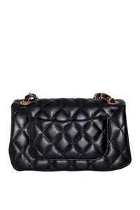 Black Leather Diamond Stitch Bag image