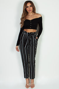 """Too Little Too Late"" Black Off Shoulder Long Sleeve Crop Top image"