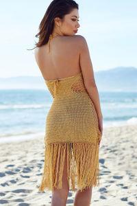 Gold Fringe Crochet Dress image