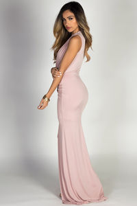 """Jessica"" Blush Sleeveless Plunging Deep V Glam Maxi Dress image"
