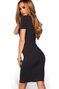 """Prue"" Black Short Sleeve Jersey Bodycon Casual Dress image"