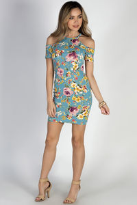 """""""Nothin' But Blue Skies"""" Turquoise Floral Cold Shoulder Bodycon Dress image"""